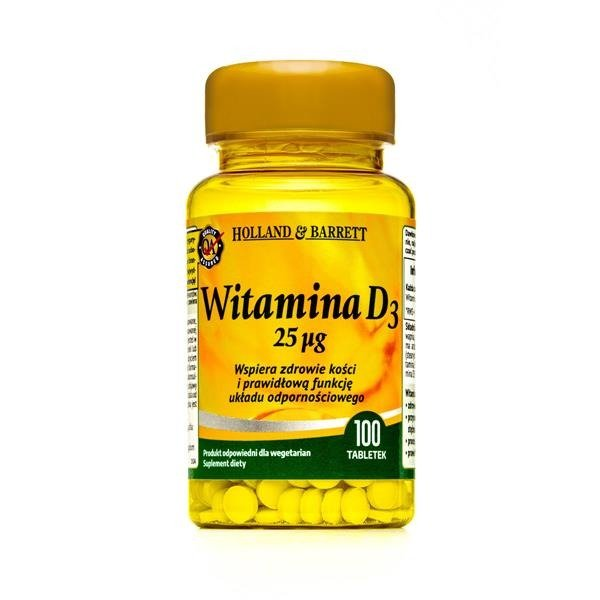 Holland & Barrett Witamina D3 25ug 100 Tabletek